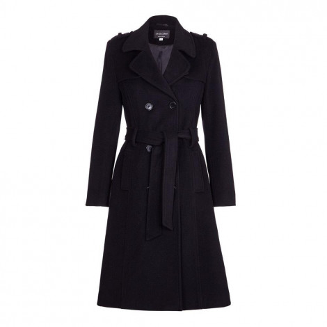 De La Creme - Womens Wool & Cashmere Belted Long Military Trench Coat