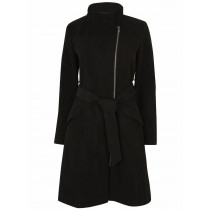 Anastasia Womens Black Zip Belted Winter Coat