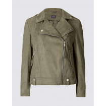 Ex Marks & Spencer Women`s Faux Suede Biker Jacket