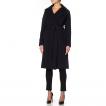 De la Creme - Navy Women`s Winter Wool Cashmere Wrap  Coat