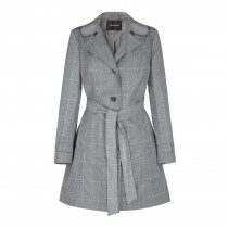 Anastasia - Womens Check Belted Single Breasted Trench Coat