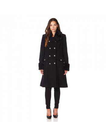 Anastasia - Black Womens Military Cashmere Wool Winter Coat Fur Collar