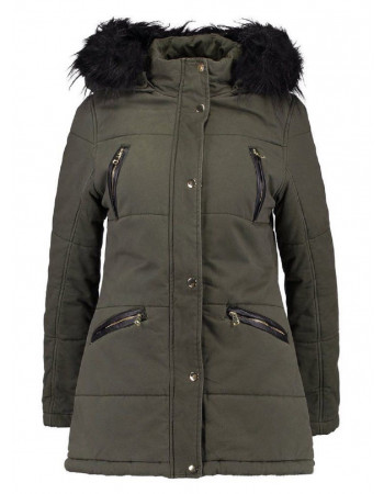 Ex New Look - Women's Faux Fur Hooded Winter Parka, Khaki