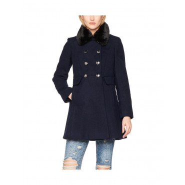 Ex Dorothy Perkins - Women's Double Breasted Coat With Fux Fur Collar
