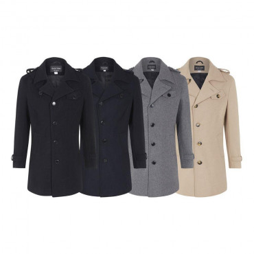 De La Creme - Men's Wool Mix Military Style Winter Coat