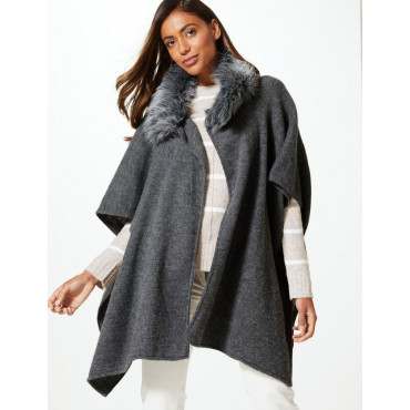 Ex Marks and Spencer - Faux Fur Collar Wrap Cape