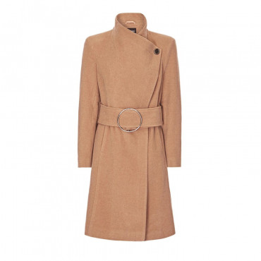 Anastasia Womens Winter Asymetric Coat With Large Silver Buckle