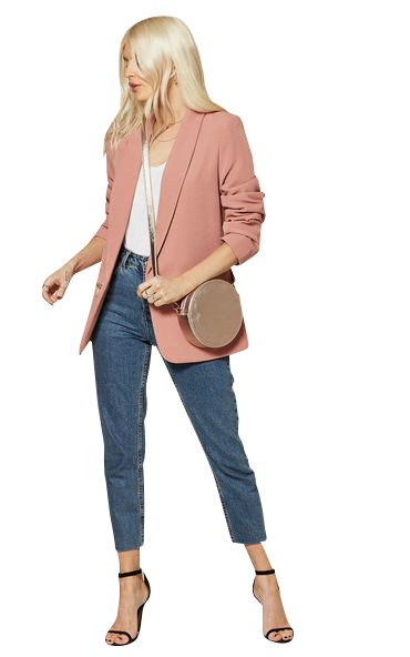 Anastasia Womens Pink Edge to Edge Blazer Jacket