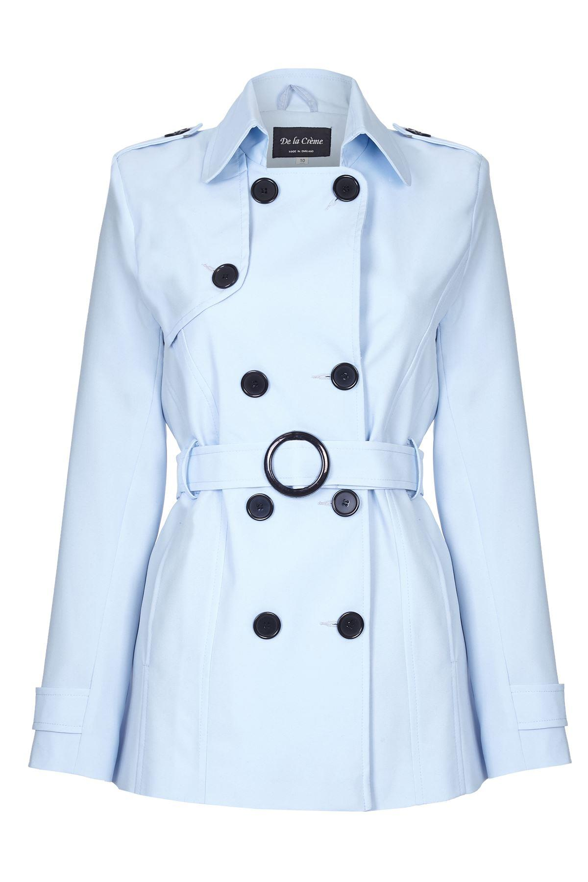 Anastasia - Light Blue Womens Spring Tie Belted Short Trench Coat