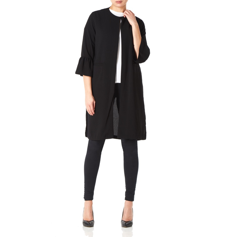 Anastasia - Black Womens Unlined Long Evening Coat
