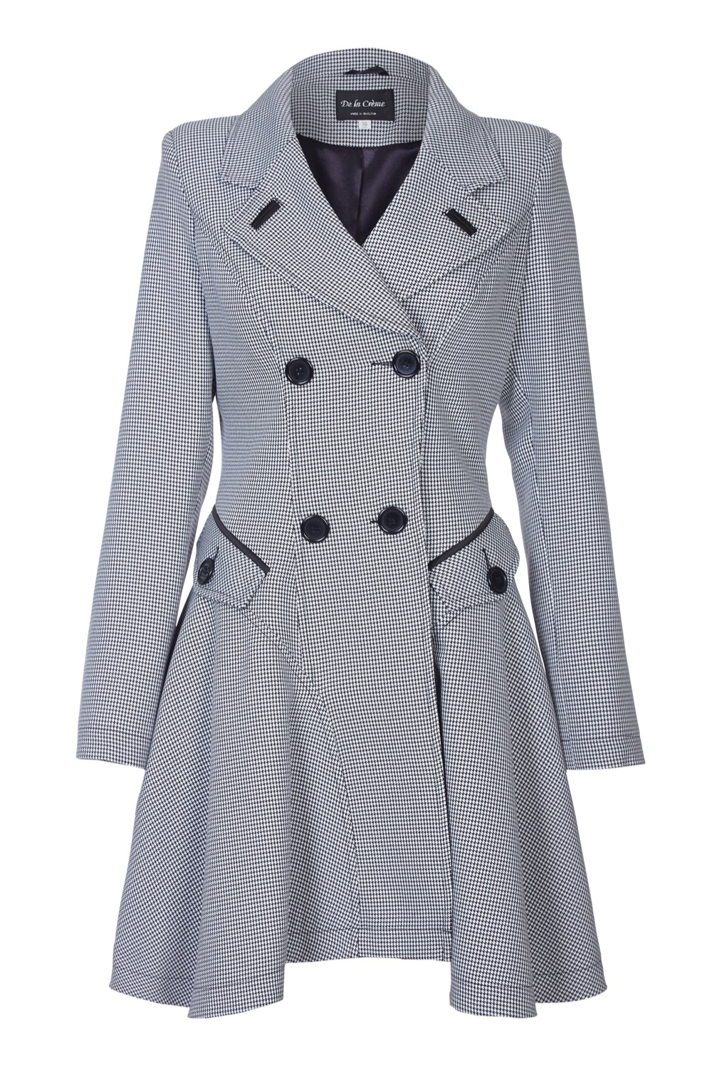 Anastasia - Check Womens Spring Fit & Flair Laced Back Raincoat